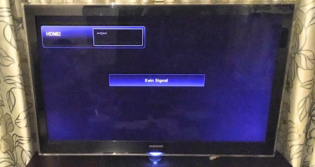 Fernseher hat kein Signal wegen Fernsehverbot